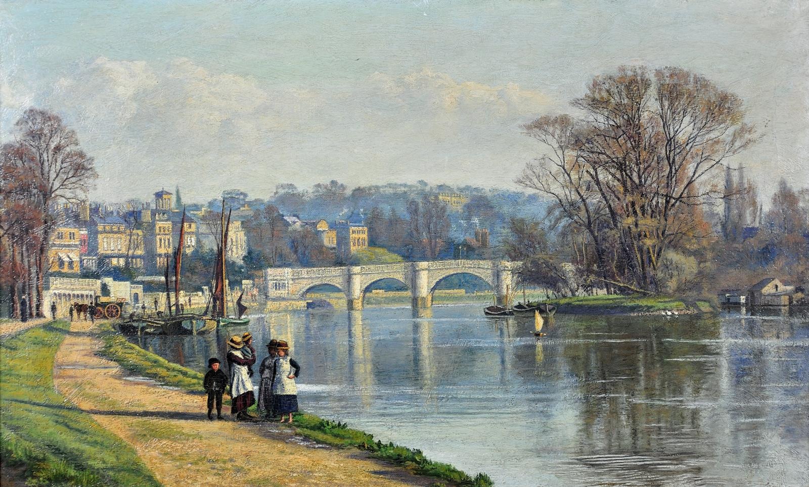 a riverside in evening with a bridge and a family walking