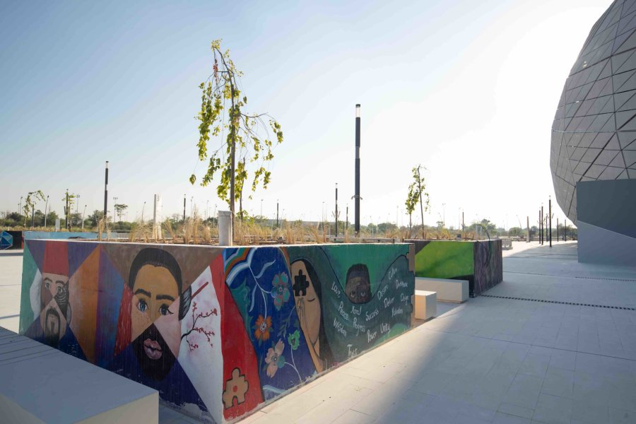 Using art outside the Education City Stadium to depict the vibrancy of Qatar Foundation - qf - 05