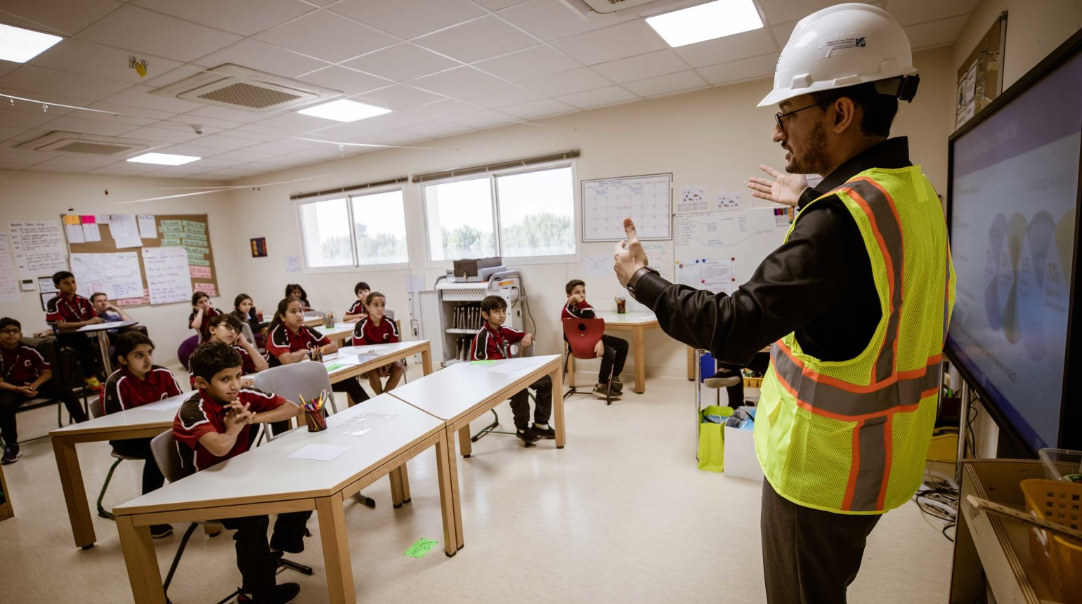 <p>Ph.D students from Hamad Bin Khalifa University educated Qatar Academy Sidra students about the central role that sustainability plays in the 2022 FIFA World Cup Qatar.</p>