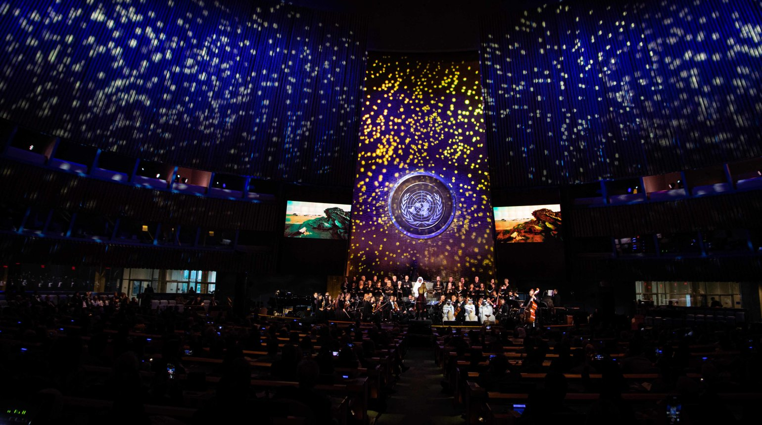 <p>Qatar Philharmonic Orchestra performed in front of an international audience in the United Nations General Assembly Hall as part of a celebration of UN Day 2019.</p>