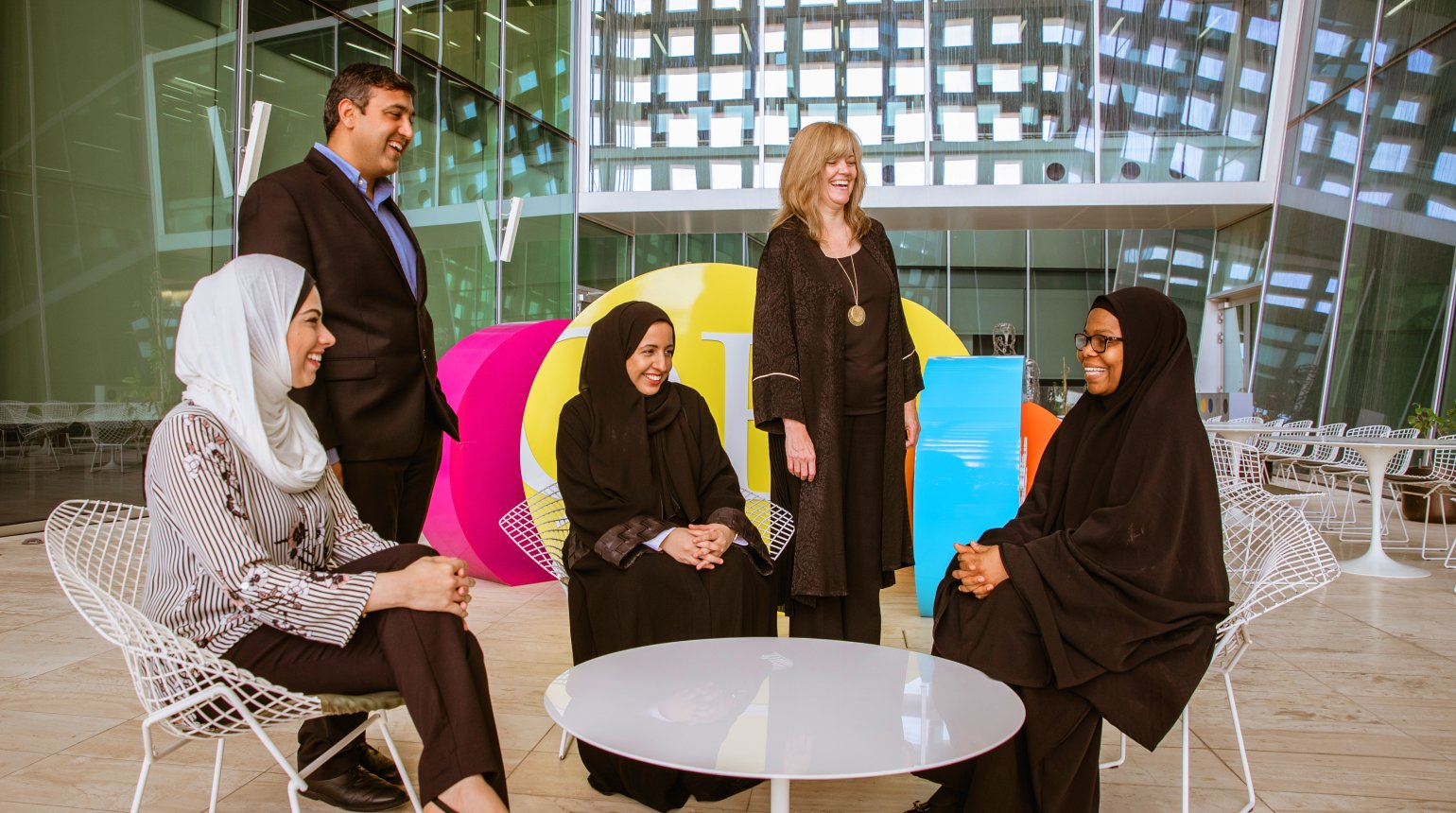 <p>From left to right: Dr. Marwa Qaraqe,  Assistant Professors of Information and Computing Technology (HBKU), Dr. Bilal Mansoor, Assistant Professor of Mechanical Engineering (TAMUQ), Dr. Dena Al Thani, Assistant Professors of Information and Computing Technology (HBKU), Sherri L. Miller, Director of Renad Academy, and Bilikis Banire (HBKU) Ph.D student</p>