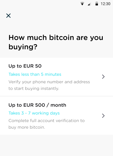 Buy bitcoin using TenX step 2
