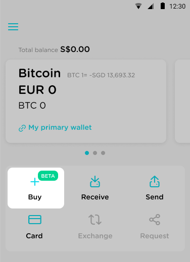 Buy bitcoin on TenX step 1