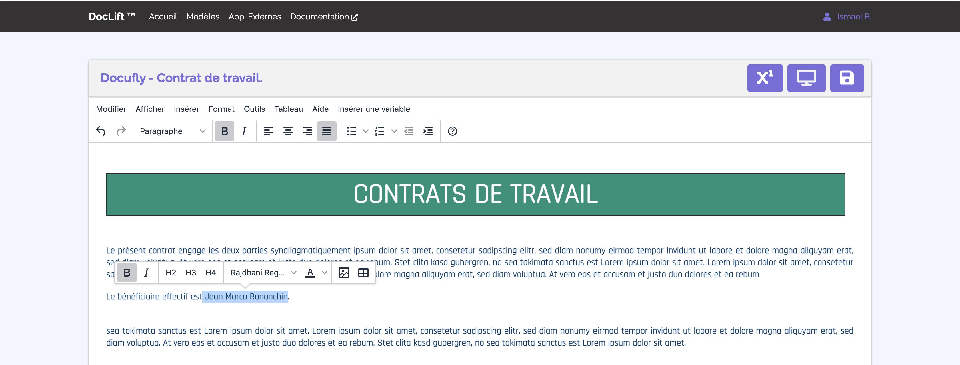 Montre un aperçu de l'éditeur de modèles de PDF de Doclift
