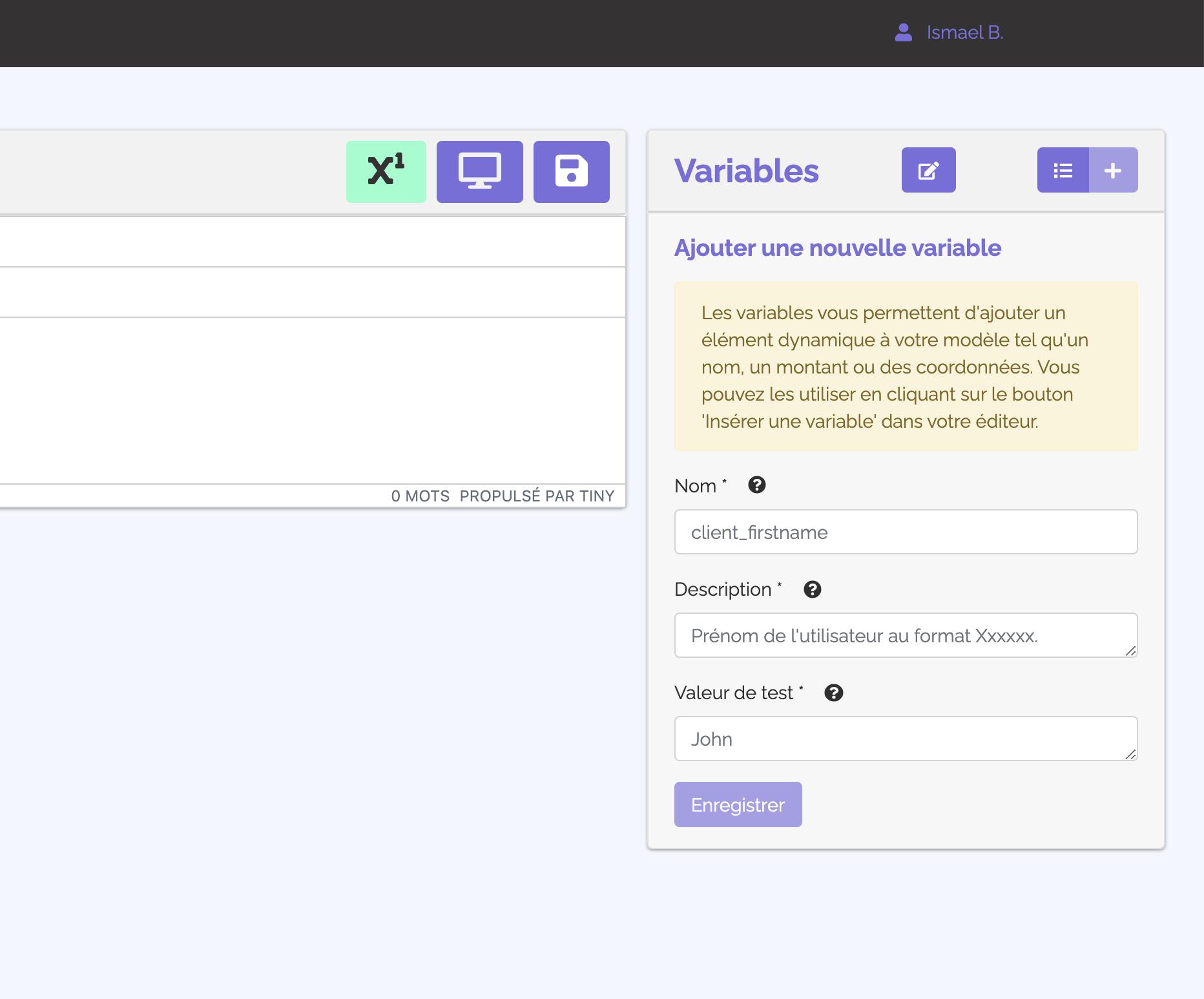 """Le menu """"variables"""" disponible dans l'éditeur de modèle de PDF de Doclift"""