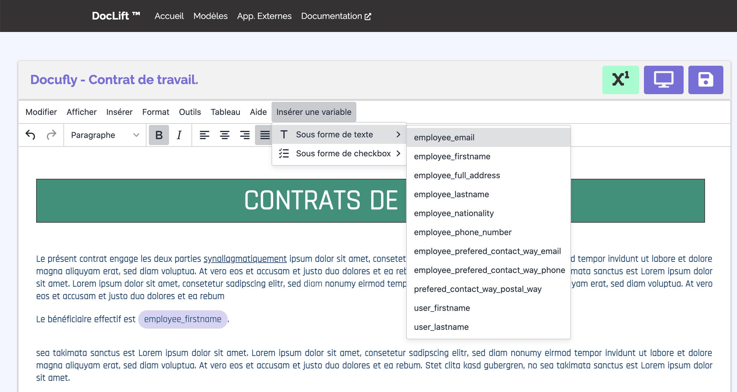 Capture d'écran de l'ajout d'une variable dans un modèle de PDF de Doclift