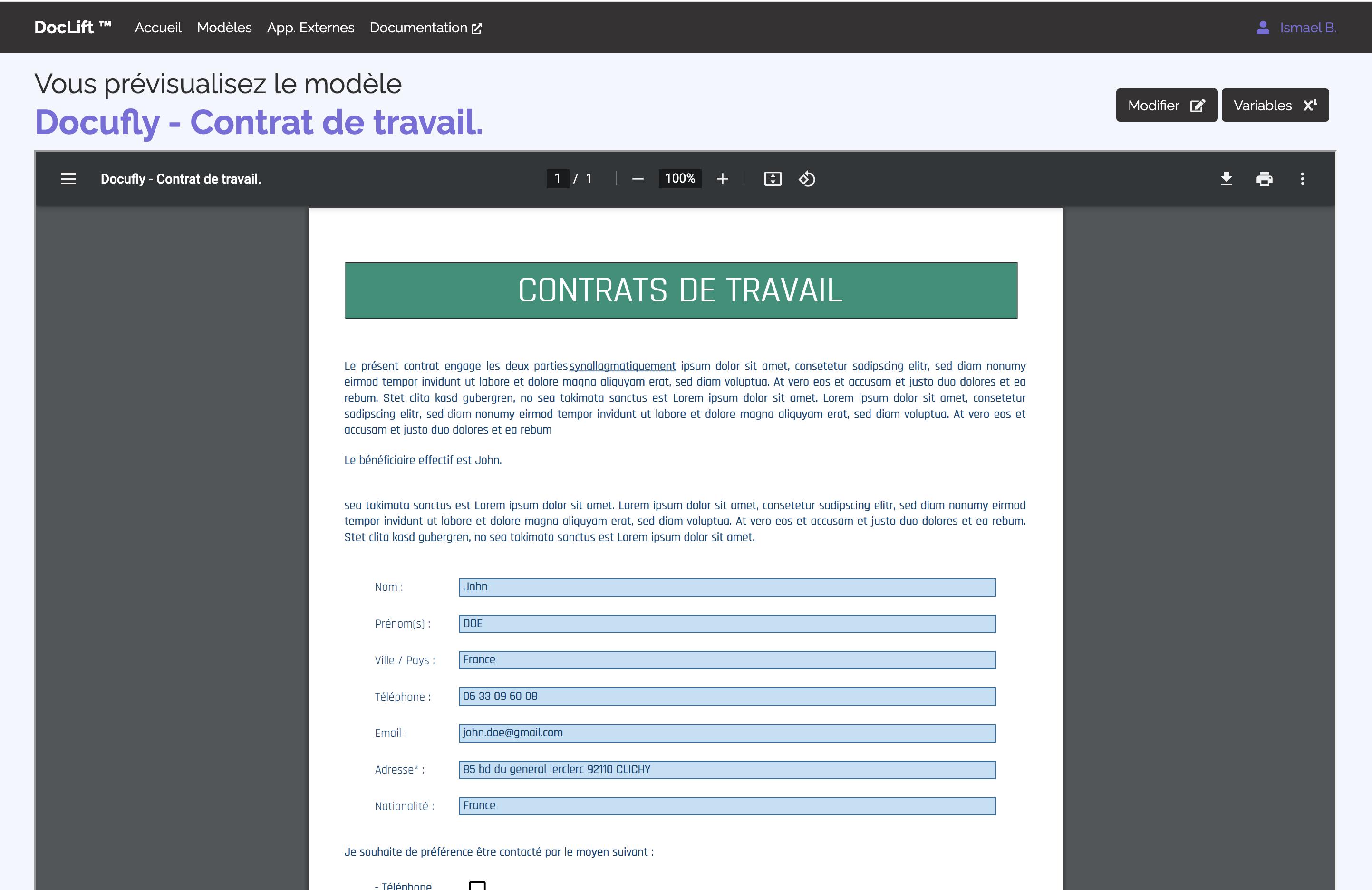 Prévisualisation du rendu d'un modèle de PDF sur Doclift