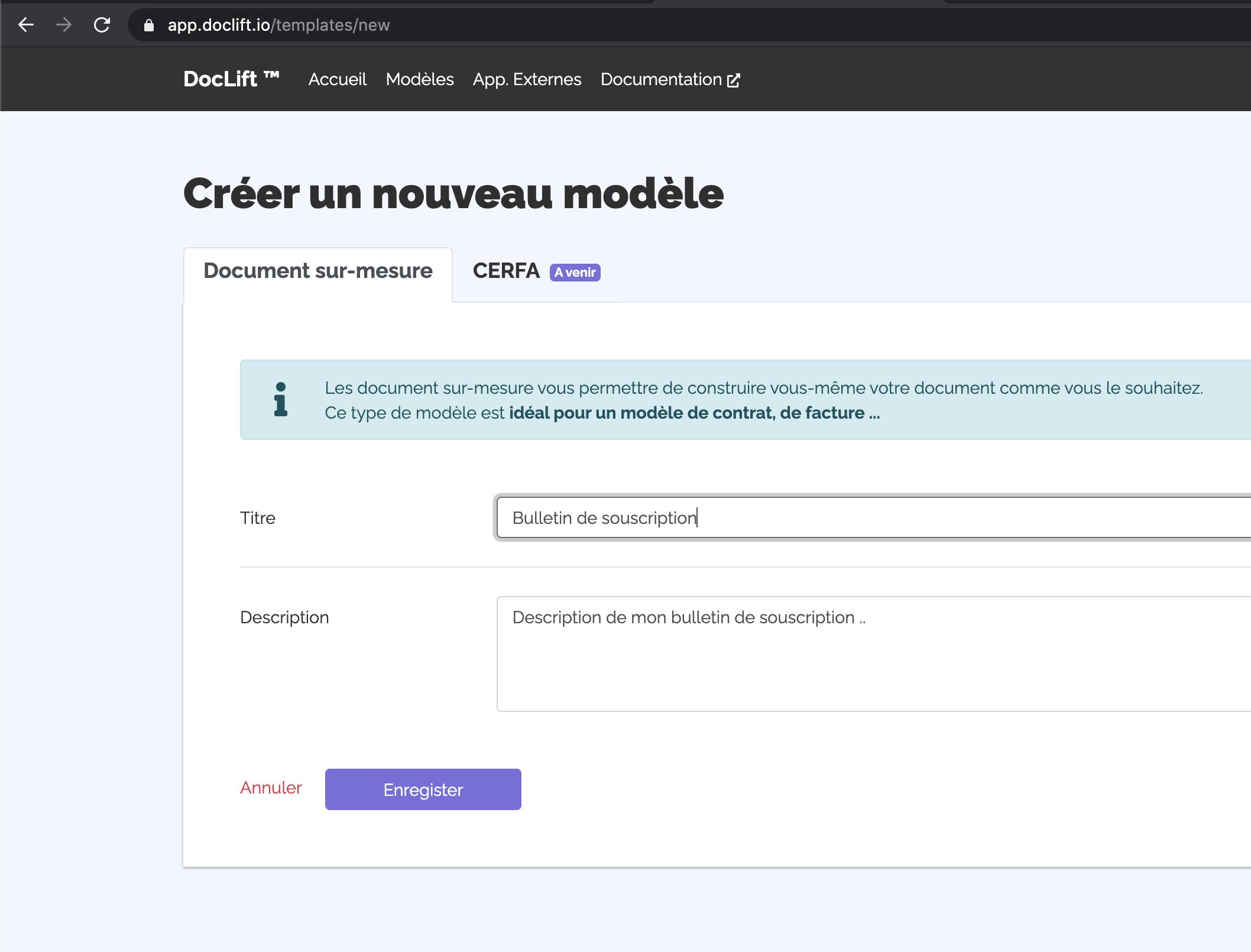 Formulaire de création d'un modèle de PDF sur Doclift.io