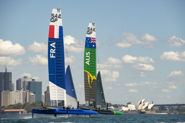 Sydney Harbour awash with colour as six SailGP nations line up for the first time