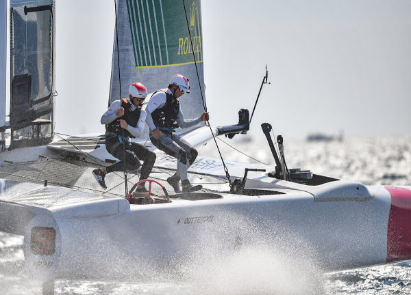 Japan SailGP Team skippered by Nathan Outteridge foiling on the Rade de Marseille