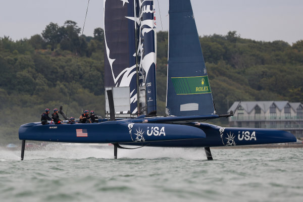 United States SailGP Team helmed by Rome Kirby compete in a practice race ahead of Cowes SailGP