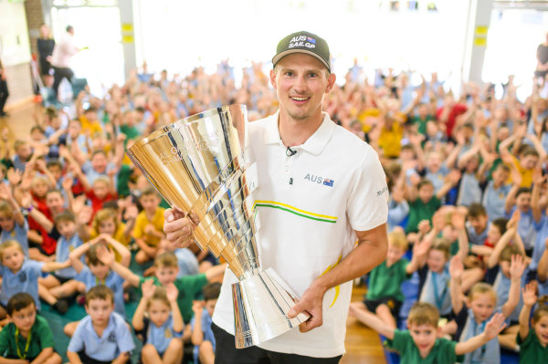 Kyle Langford takes SailGP Championship Trophy Tour to hometown on Lake Macquarie to celebrate historic win