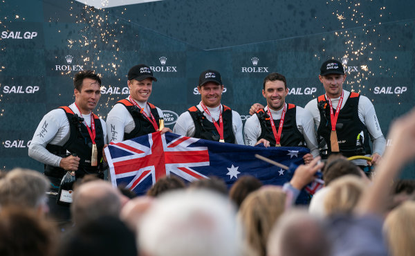 Australia SailGP Team celebrate winning Cowes SailGP