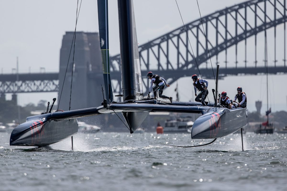 United States SailGP team mid-race in Sydney.