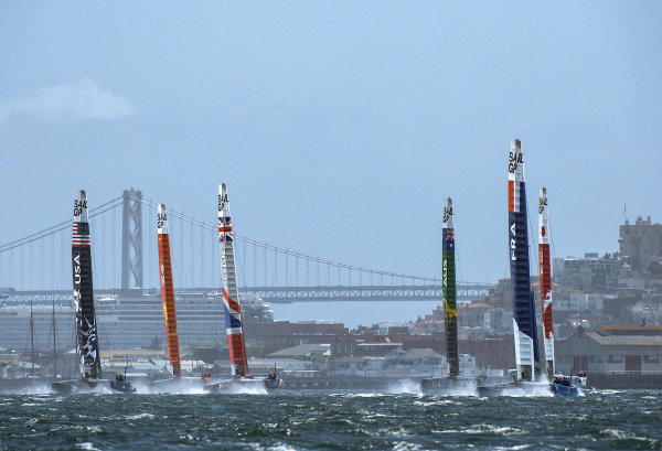 All six SailGP teams sailing in the bay in choppy waters