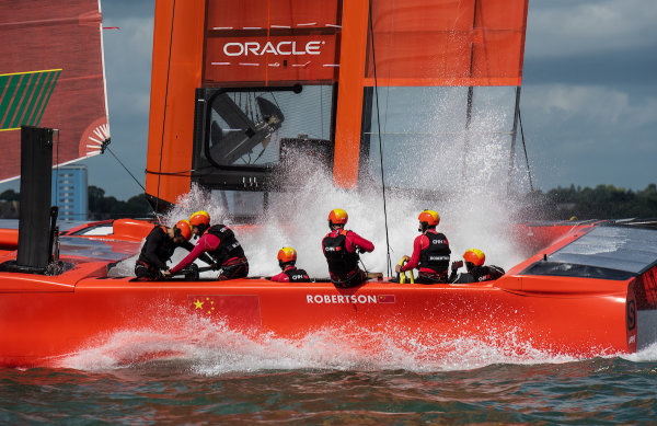 China SailGP Team helmed by Phil Robertson in action on The Solent