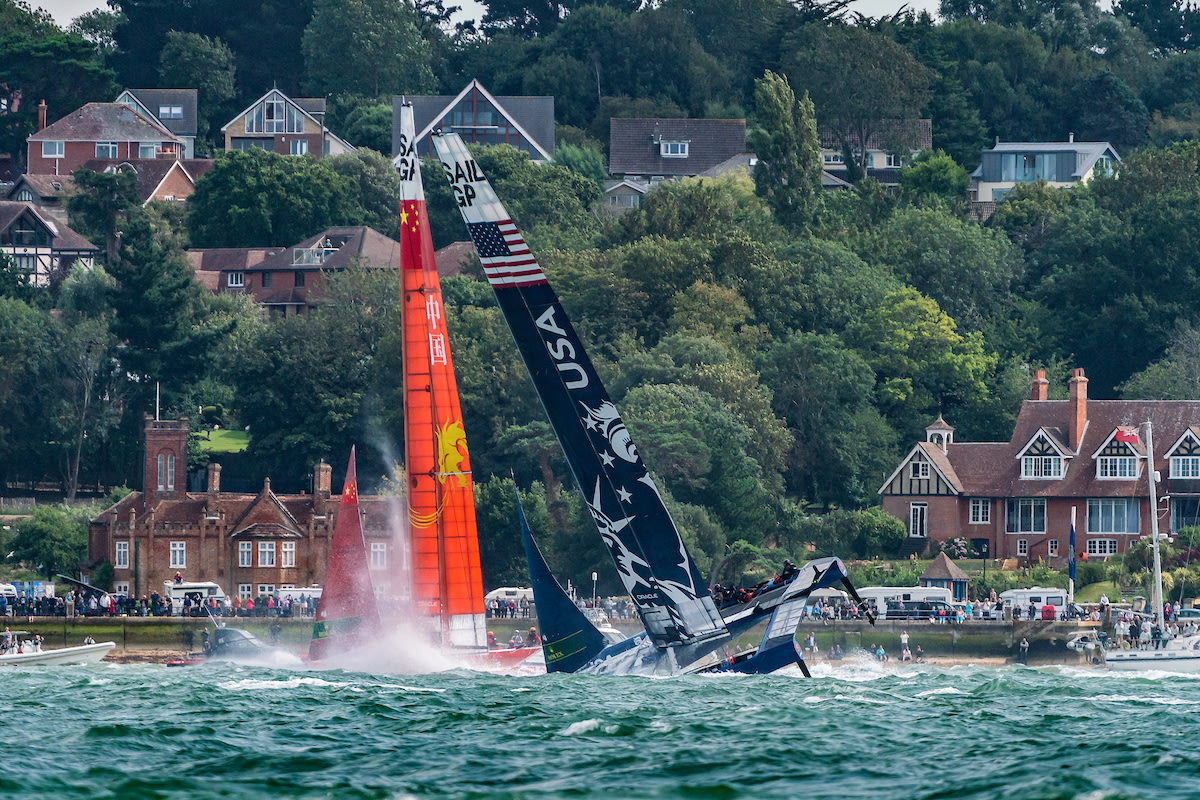 United States SailGP Team helmed by Rome Kirby nose dive before capsizing in the early stages of the first race