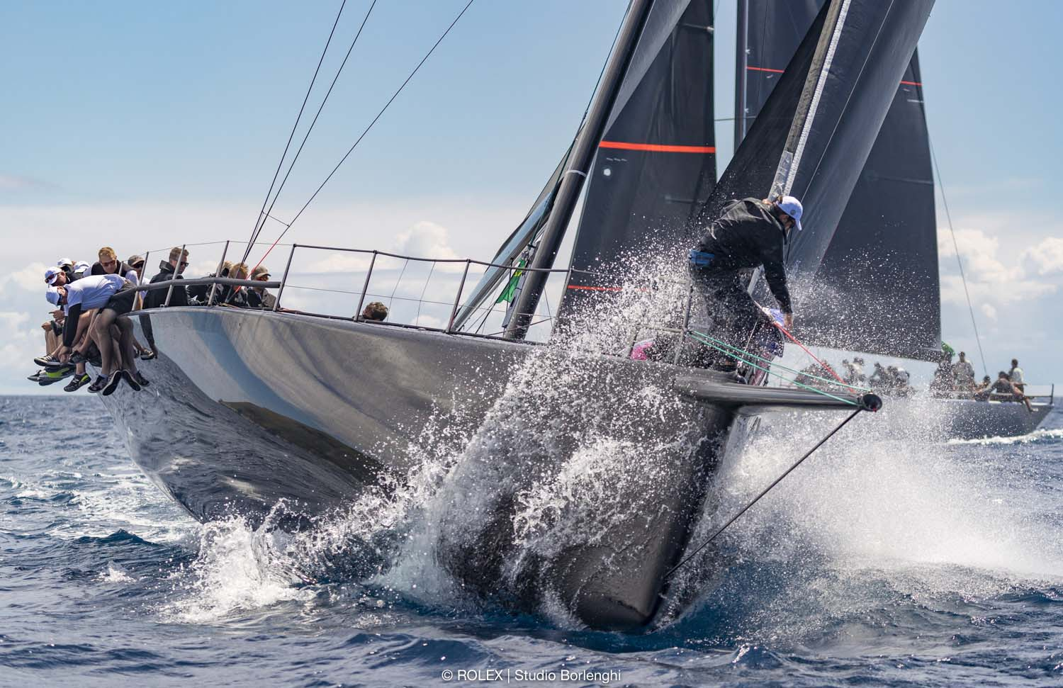 Kinley Fowler on board Maxi 77 Jethou at Rolex Capri Sailing Week