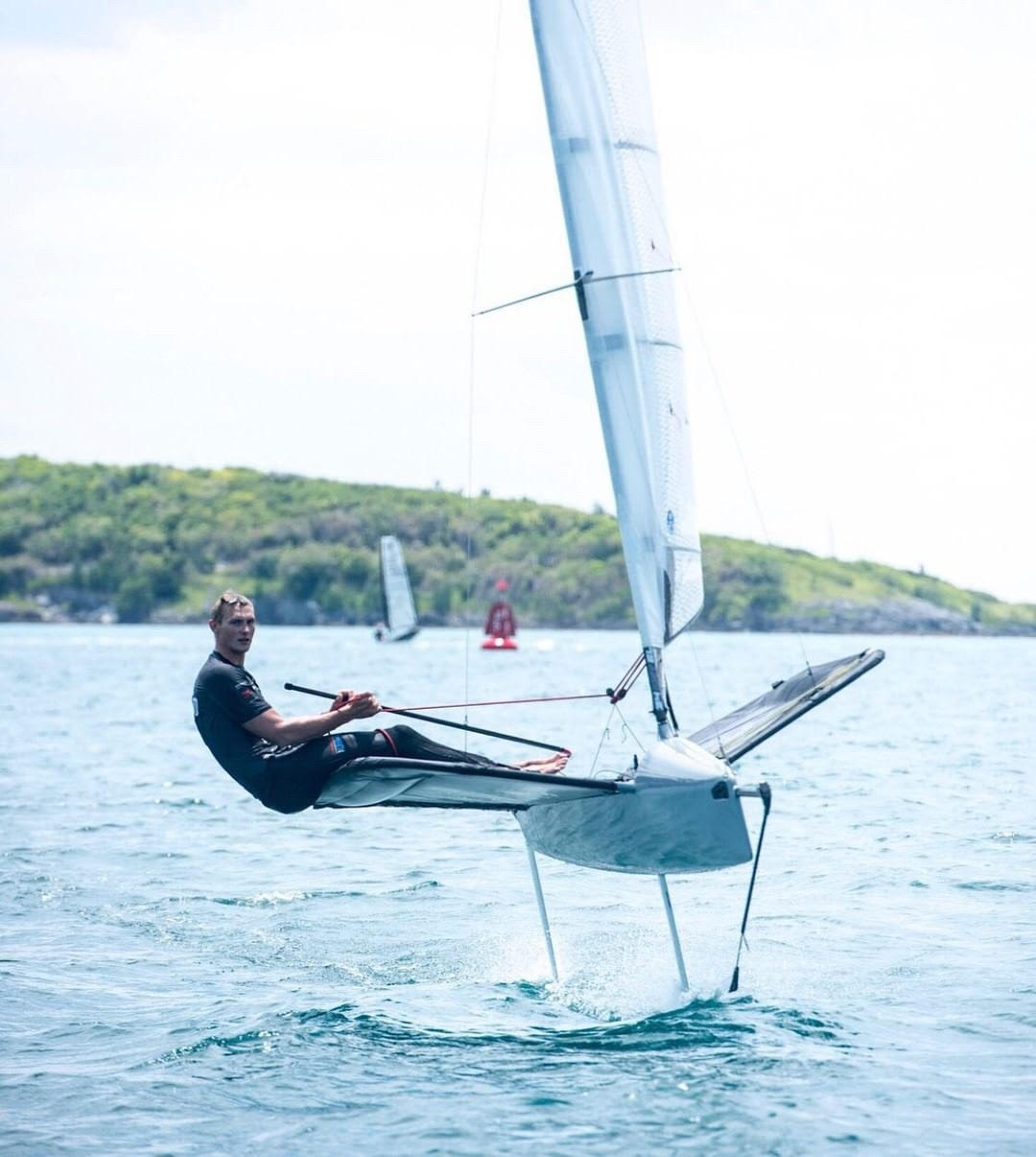 Kyle Langford sailing his moth