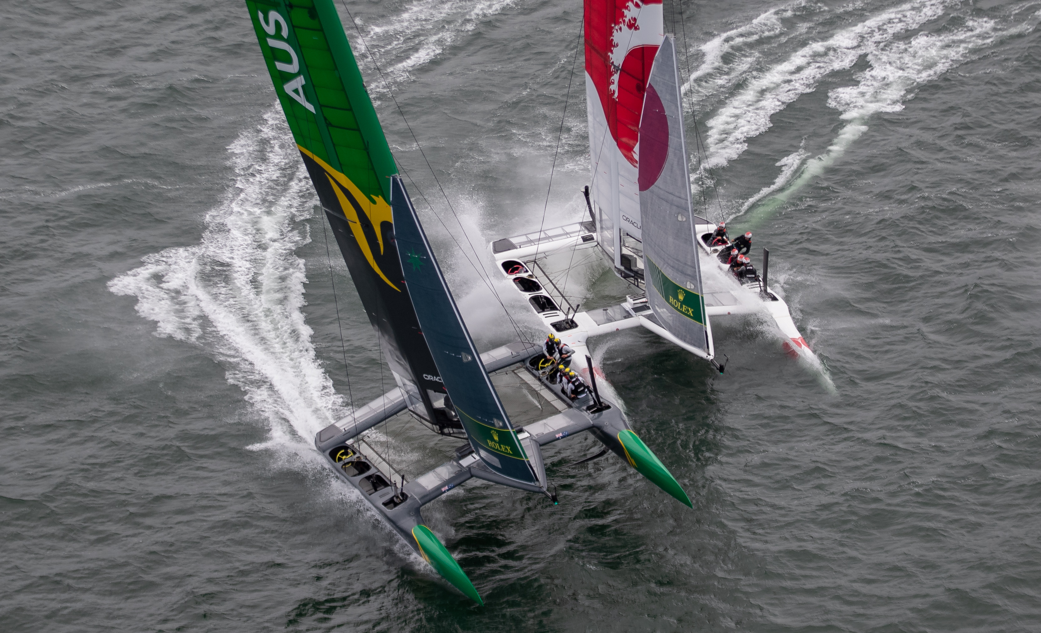 Big Action Australia over Japan by Jed Jacobson - San Francisco SailGP