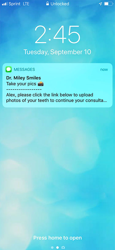 Text notifications that come automatically through SmileSnap to patient