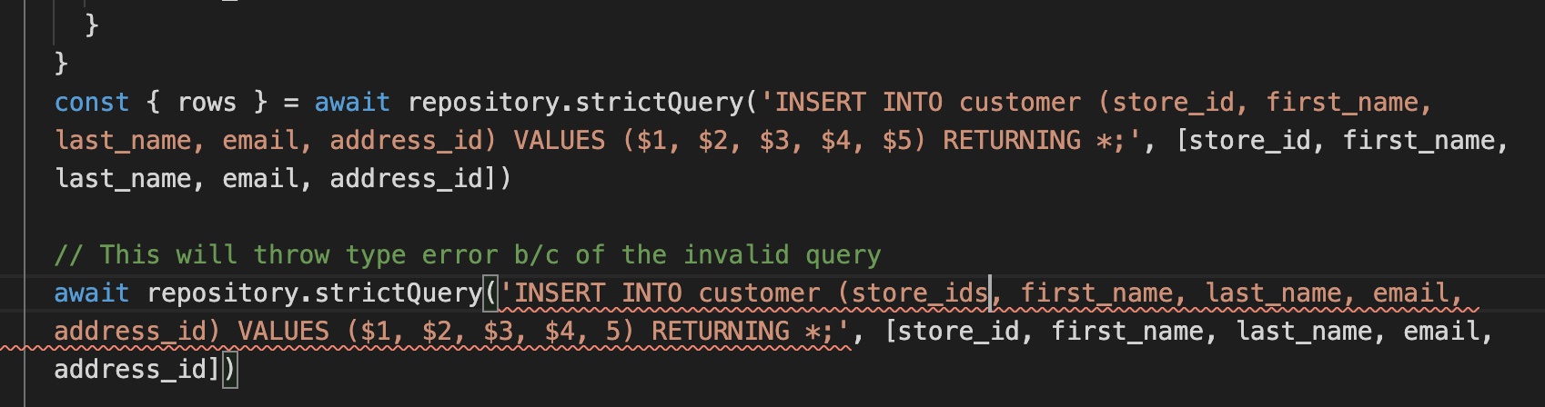 invalid insert query