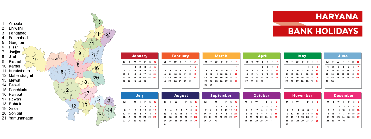 Haryana Bank Holidays List 2021