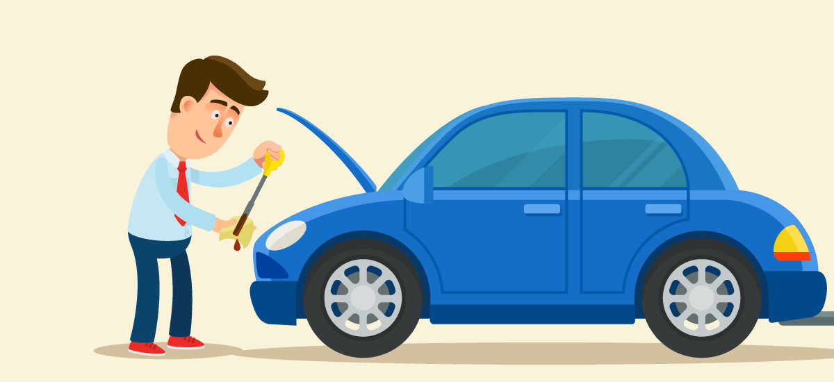 How to check the engine oil level in a car