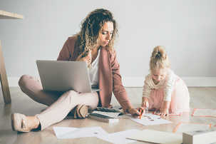 Many parents must balance childcare with working remotely.