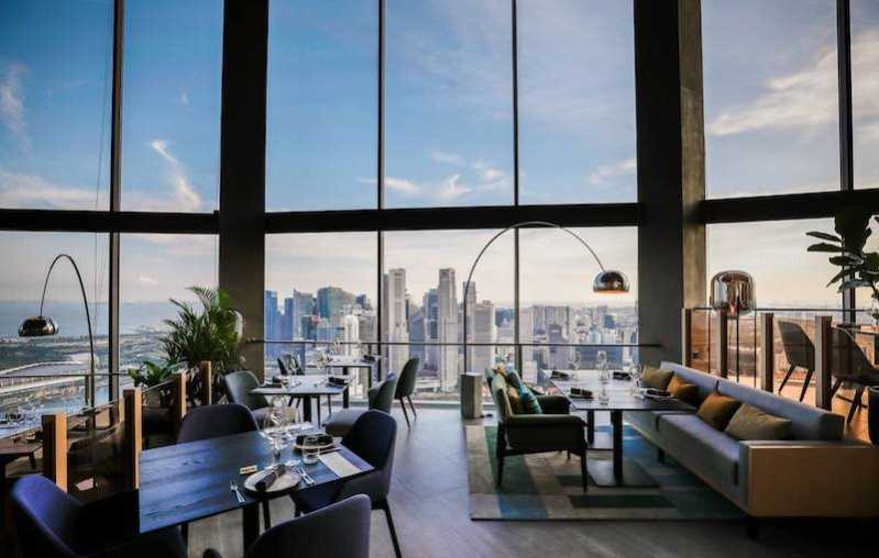 The Singapore skyline view from SKAI Restaurant and Bar is hard to beat