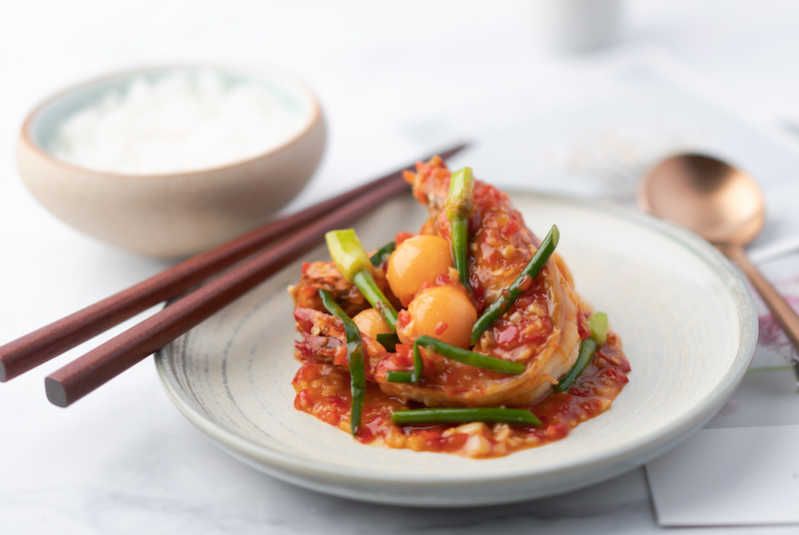 Sauteed Tiger Prawn with Garlic Hot Bean Sauce by Lee Boon Seng of Perch and The Spot in Singapore