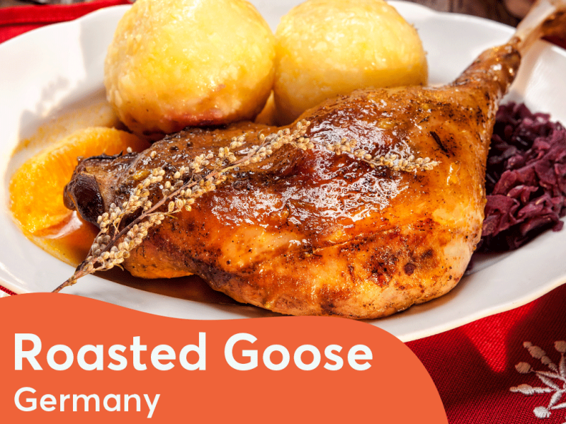 Roasted goose is often the centre point of Christmas Dinner in Germany. \[…\]