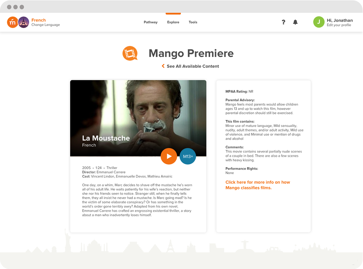 Screenshot of Mango Languages 'Mango Premiere', showcasing the French movie 'La Moustache'.