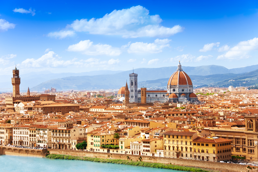 The city skyline of Florence, Italy.