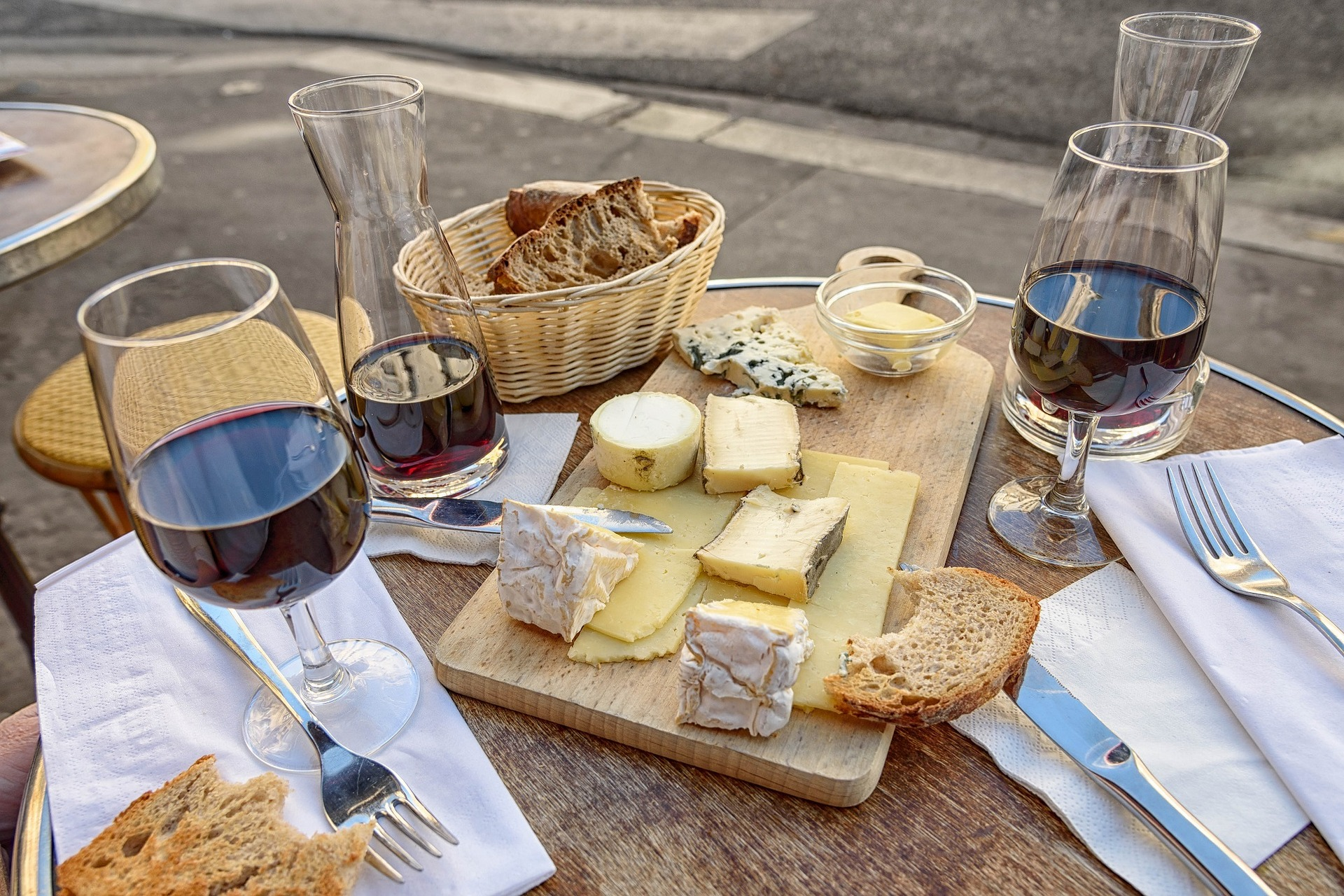 French cheese and wine at a Parisian café.