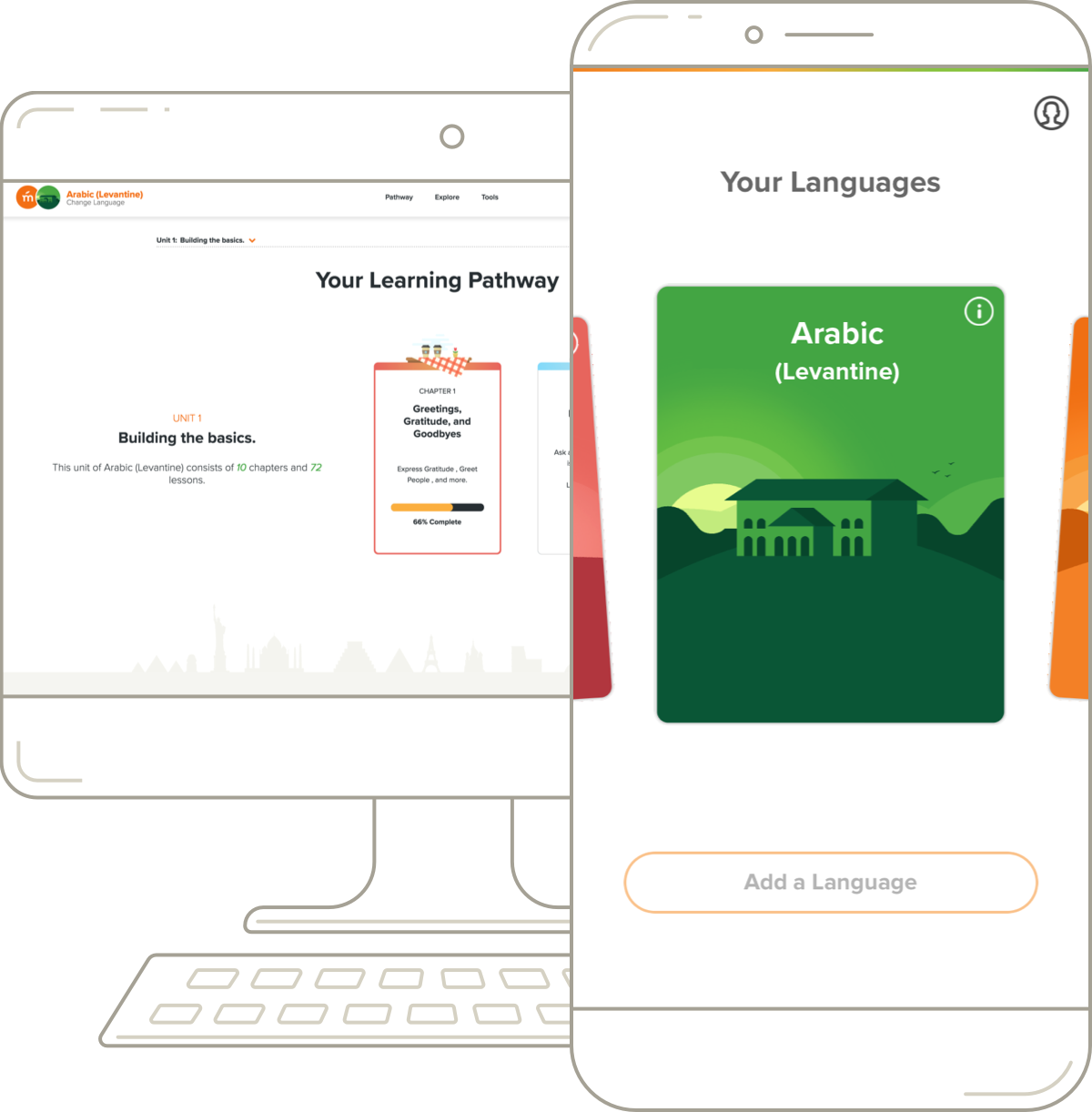 Mango Languages' Arabic (MSA) desktop pathway and mobile course.