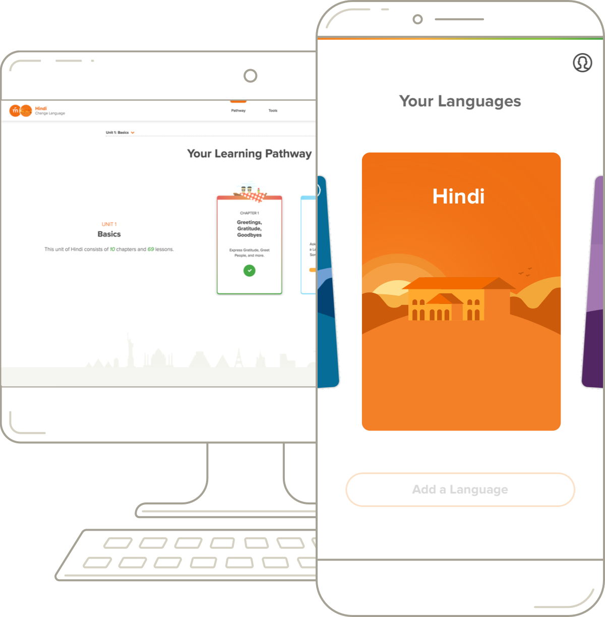 Mango's Hindi desktop pathway and mobile course.
