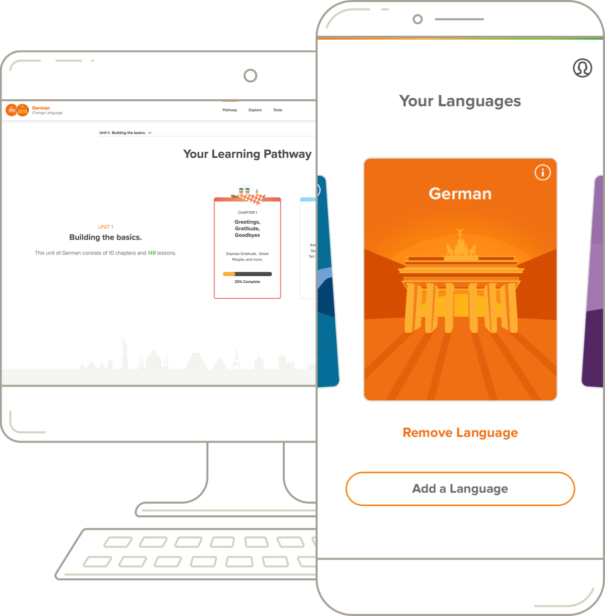 Mango Languages' German desktop pathway and mobile course.