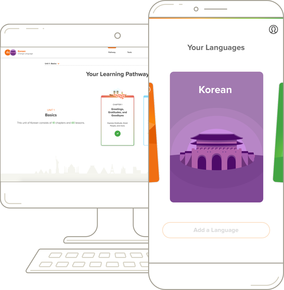 Mango Languages' Korean course on desktop and mobile.