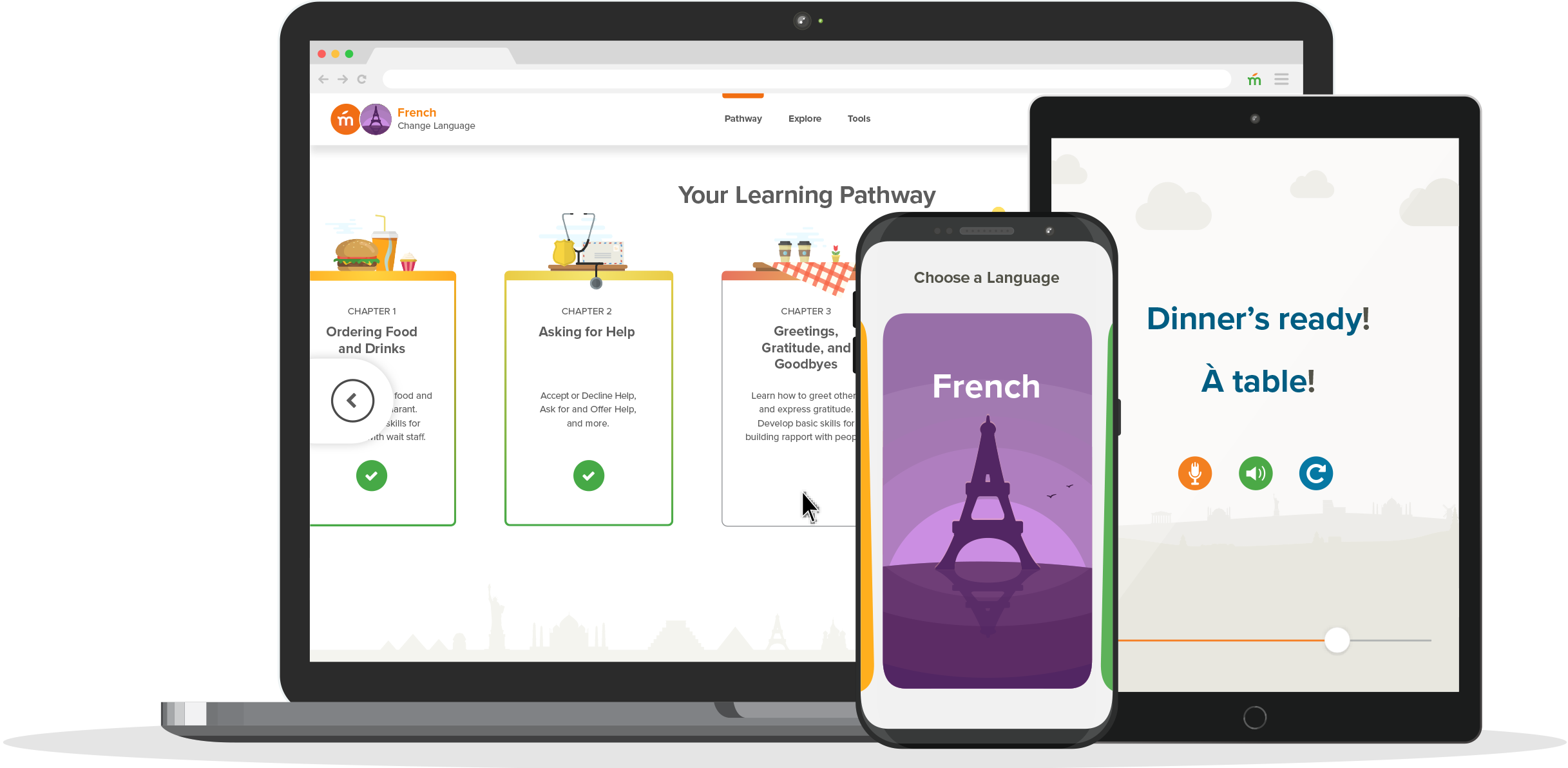 Learning French with Mango App on all devices.