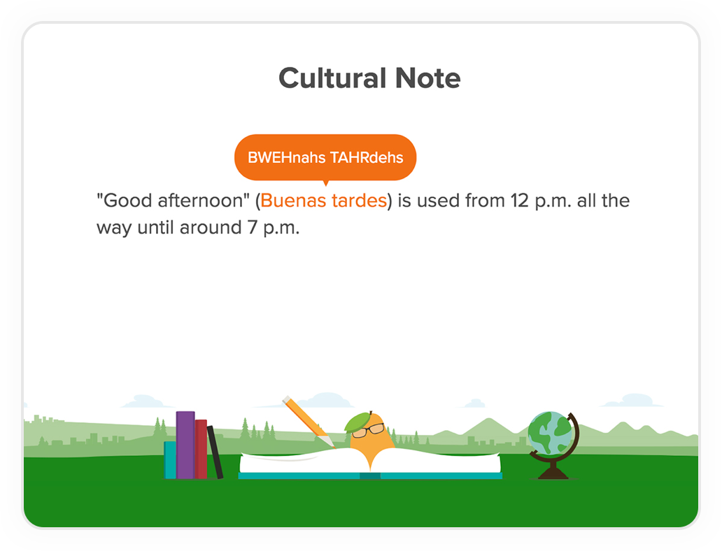 Screenshot of a 'Cultural Note' for `Spanish Latin American` course.