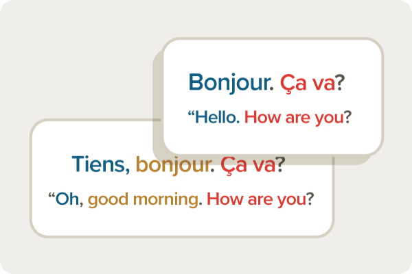Learning French, `Bonjor. Ca va?` with color coded literal meaning in English.
