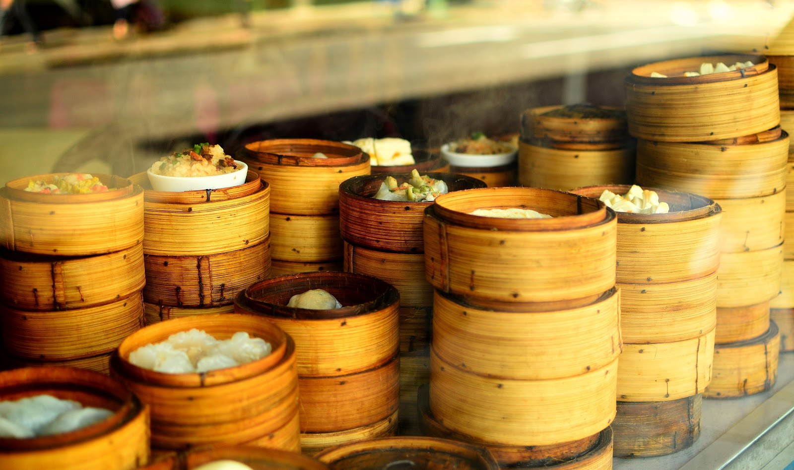 Photo of stacked Chinese Bamboo Steamer Food