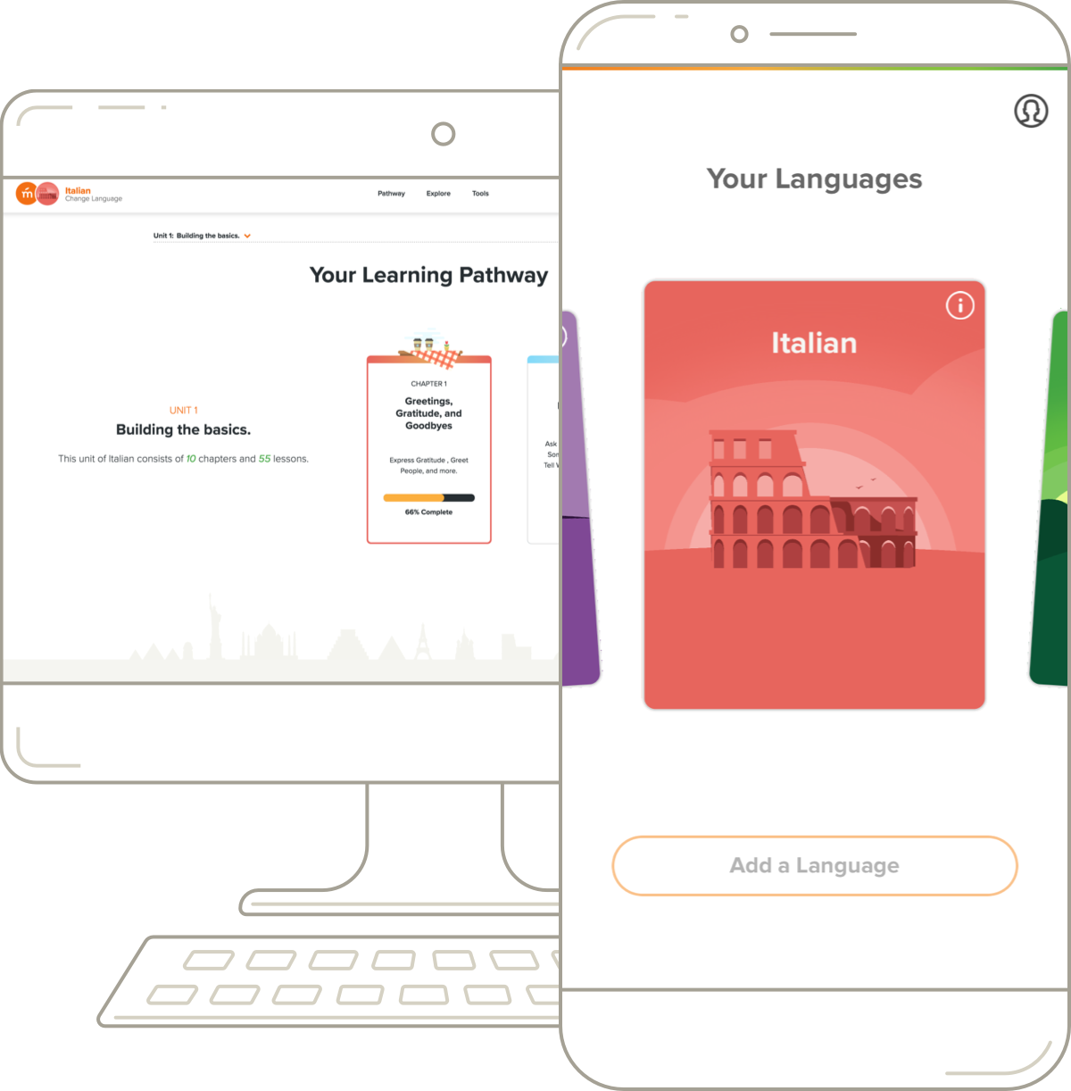 Mango Languages' Italian desktop pathway and mobile course.