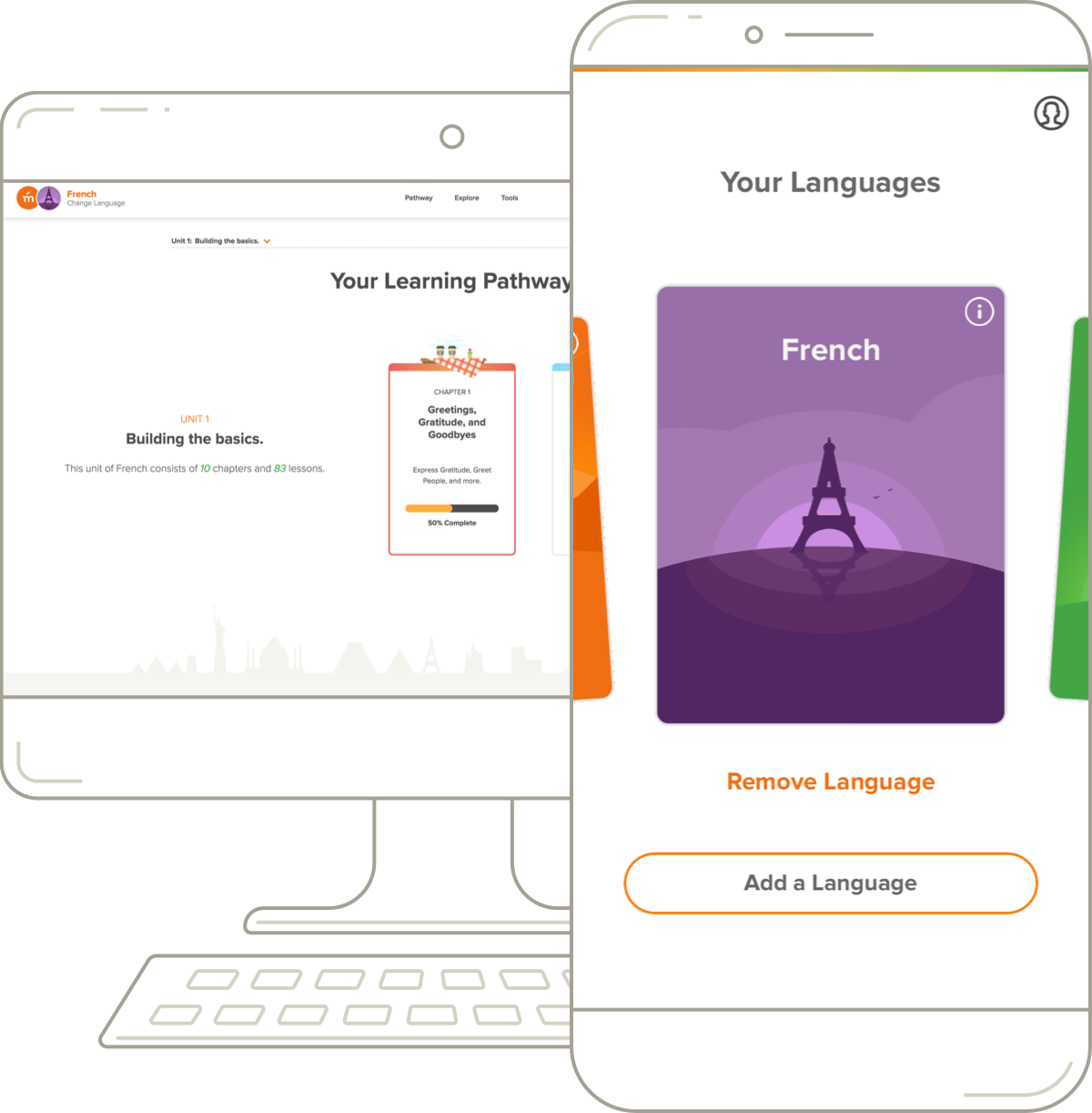 Mango's French desktop pathway and mobile course.