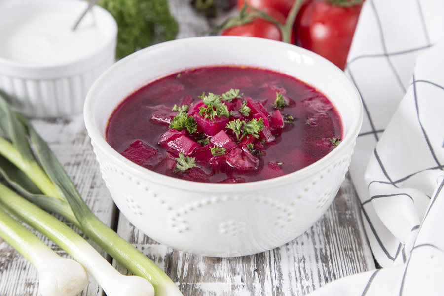A bowl of borscht, a traditional Russian soup of beets and cabbage.