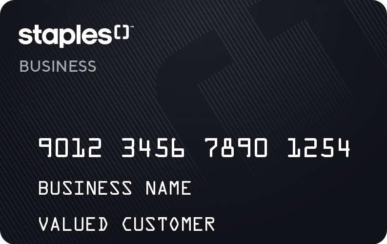 Image of a credit card with staples logo