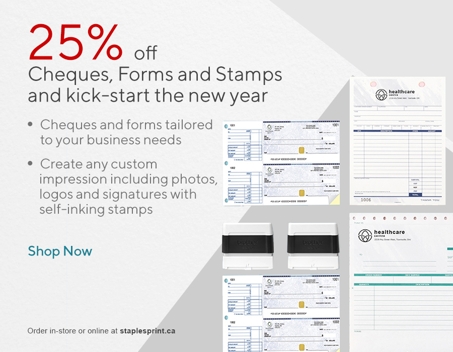 25% off Cheques, Forms and Stamps Stock up and kick-start the new year