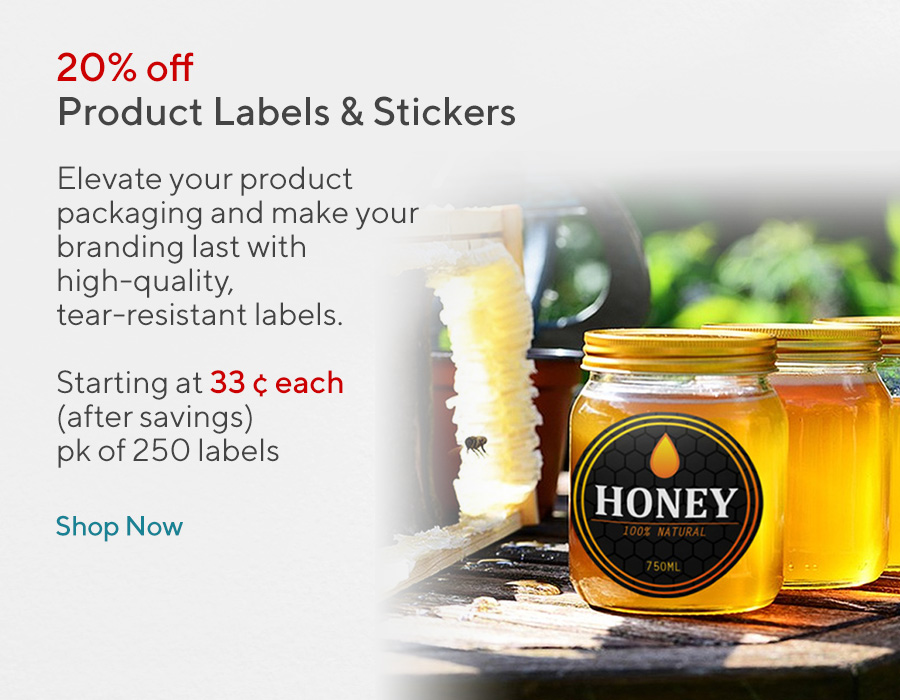 20% off on products labels and stickers
