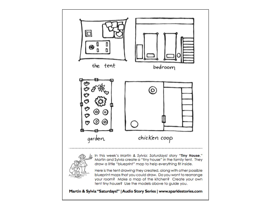 Martin sylvias saturdays printable project page blue print in this weeks martin sylvia saturdays story tiny house martin and sylvia create a tiny house in the family tent they draw a little blueprint malvernweather Choice Image